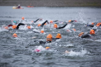 Wild swimmers in the Exmoor Open Water Swim