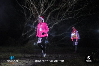 Night runners in Christmas hats