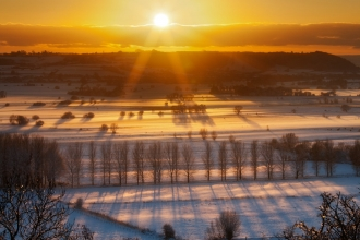 Winter sunset over the Somerset Levels