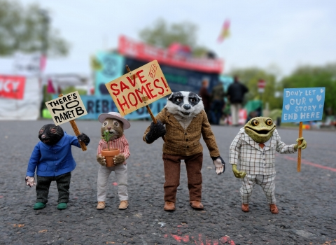 Wind in the Willows characters Mole, Ratty, Badger and Mr Toad protest for a Wilder Future